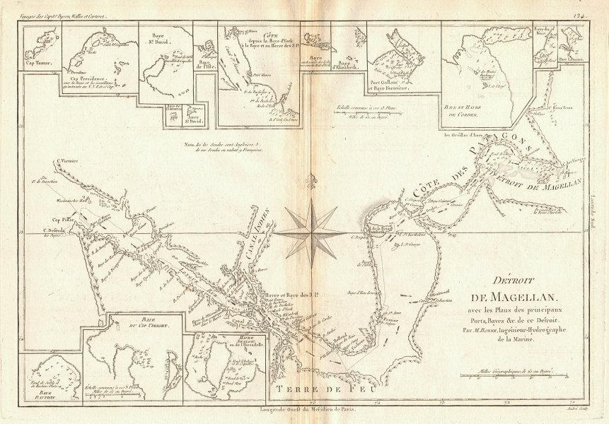 Détroit de Magellan. Strait of Magellan. Chile. BONNE 1788 old antique map