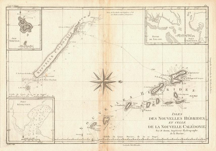 Nouvelles Hébrides & Nouvelle Calédonie. Vanuatu & New Caledonia. BONNE 1788 map