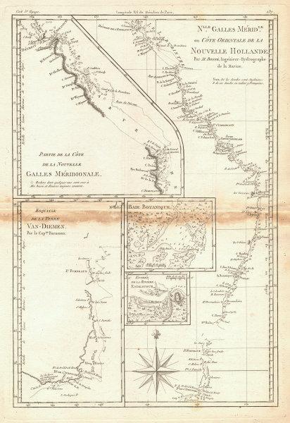 Nouvelle Galles Méridionale. Australia East Coast. NSW QLD TAS. BONNE 1788 map