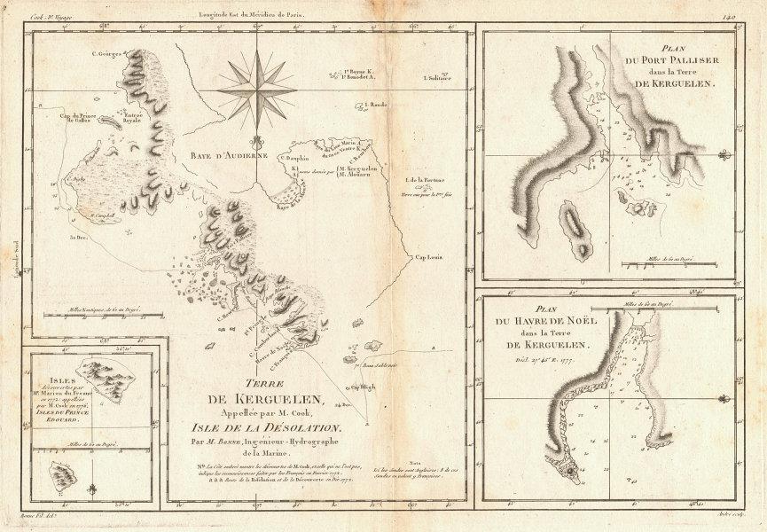 Terre de Kerguelen… Isle de la Désolation. Kerguelen Island. BONNE 1788 map