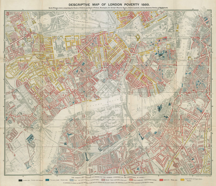 Descriptive map of London Poverty. BOOTH. SW - Kensington Chelsea Battersea 1889