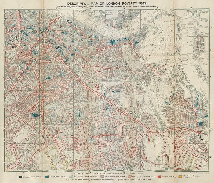 Descriptive map of London Poverty BOOTH SE Southwark Bermondsey Rotherhithe 1889