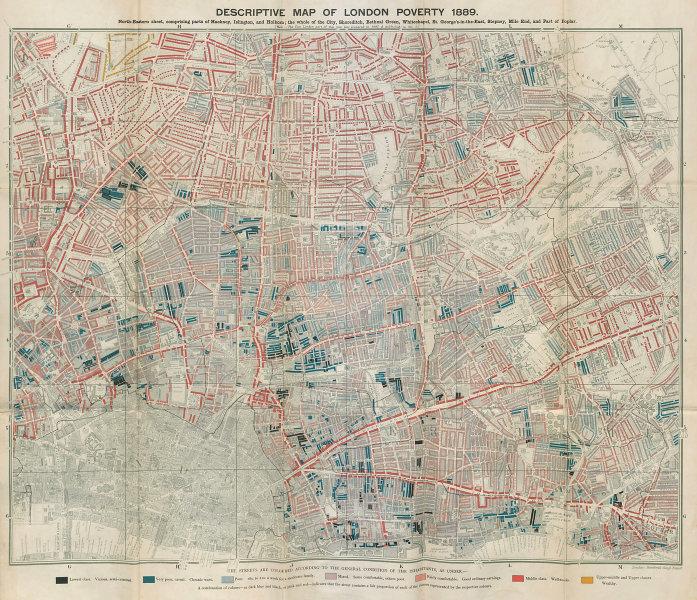 Descriptive map of London Poverty. BOOTH. NE - East End Hackney Islington 1889