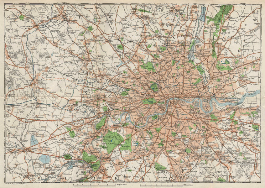 LONDON & environs showing projected Western Avenue & Railways 1928 old map