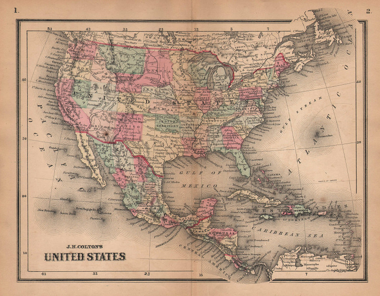 J. H. Colton's United States. Wyoming attached to Dakota 1864 old antique map