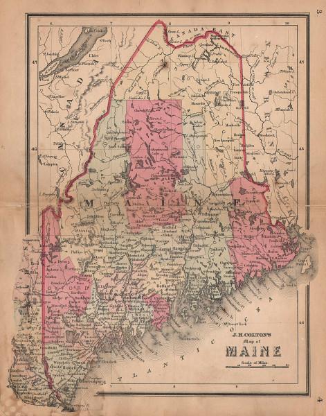 J. H. Colton's map of Maine 1864 old antique vintage plan chart