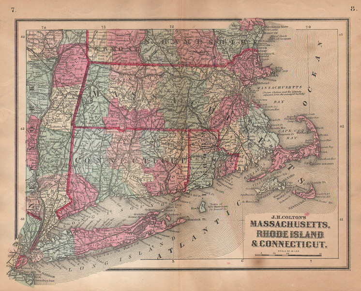 J. H. Colton's Massachusetts, Rhode Island and Connecticut 1864 old map