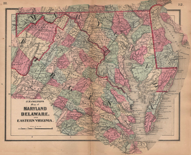 J. H. Colton's map of Maryland, Delaware, and Eastern Virginia 1864 old