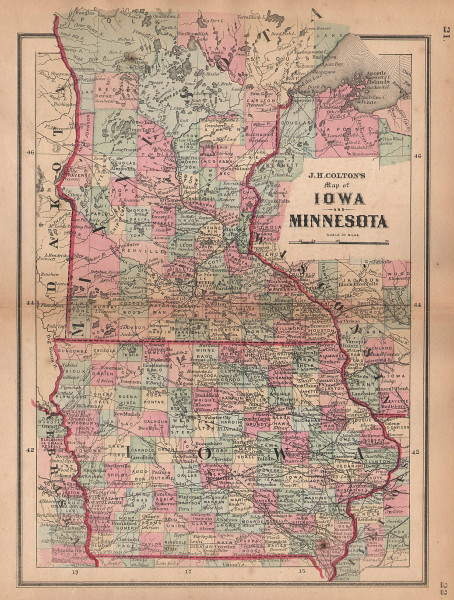 J. H. Colton's map of Iowa and Minnesota 1864 old antique plan chart