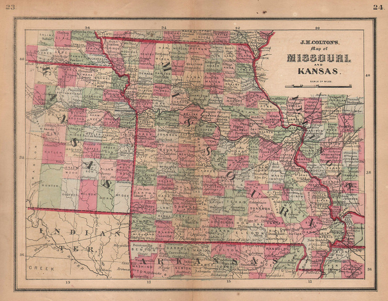J. H. Colton's map of Missouri and Kansas 1864 old antique plan chart
