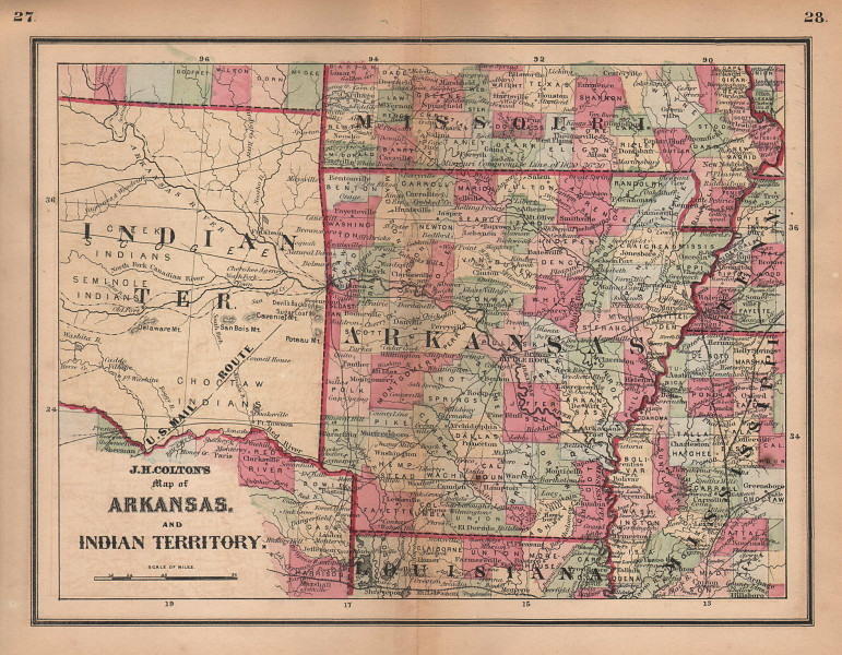 J. H. Colton's map of Arkansas and Indian Territory. Oklahoma 1864 old