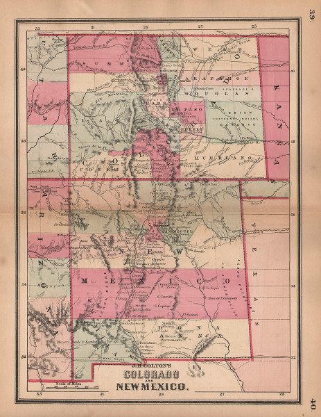 J. H. Colton's Colorado and New Mexico 1864 old antique vintage map plan chart