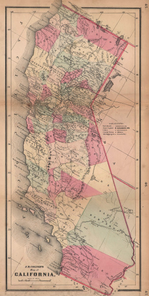 J. H. Colton's map of California 1864 old antique vintage plan chart