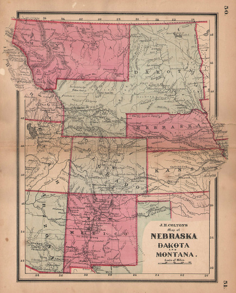 JH Colton's map of Nebraska, Dakota & Montana. Wyoming Colorado New Mexico 1864