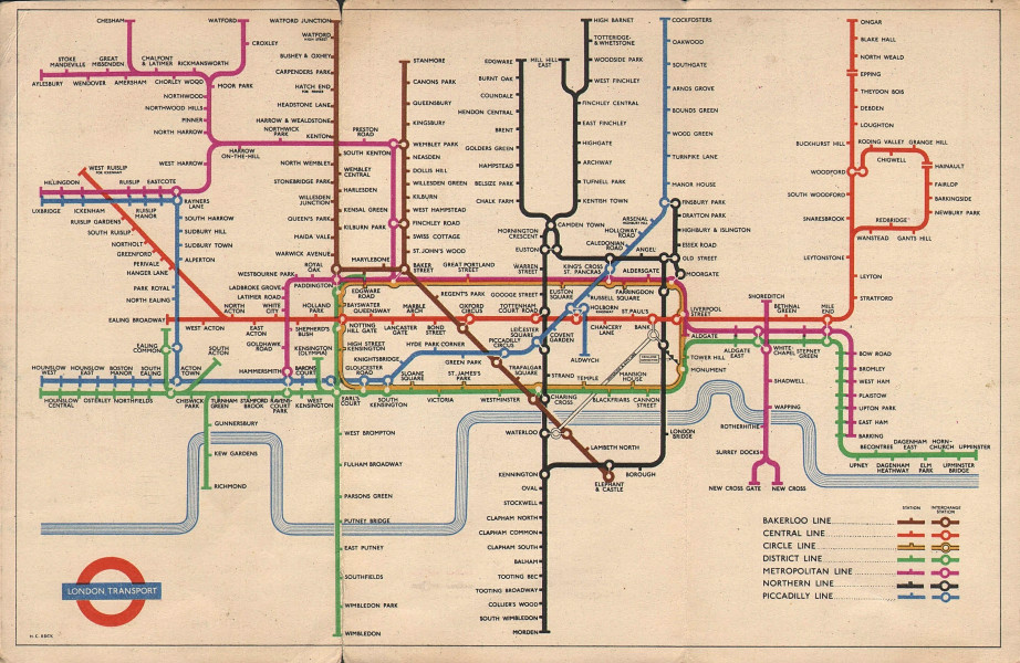 LONDON UNDERGROUND tube map plan diagram of lines. South Acton. HARRY BECK 1954