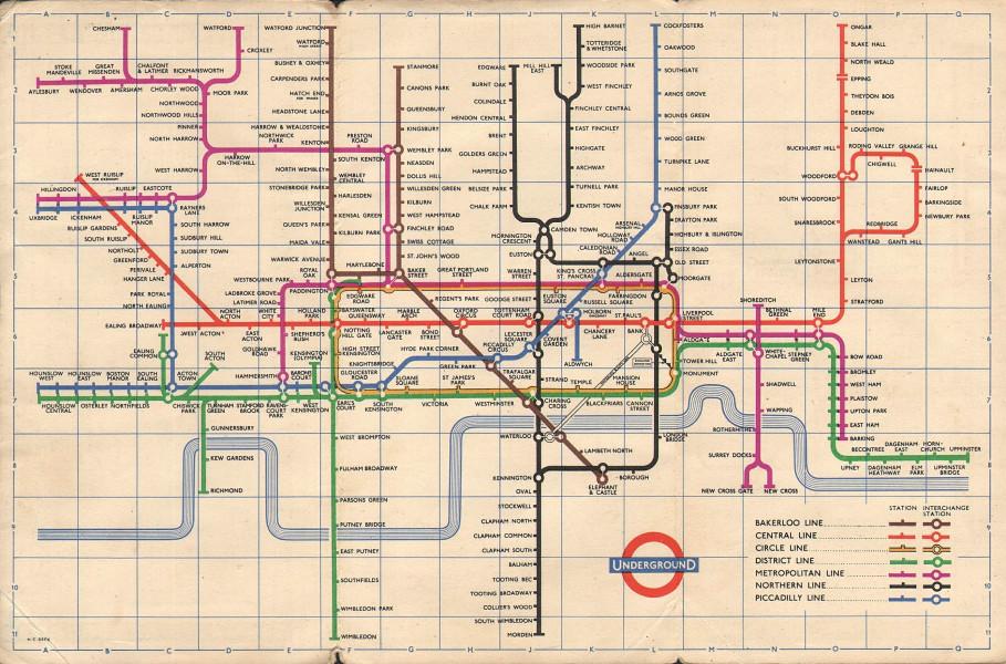 LONDON UNDERGROUND tube map plan. South Acton. Ongar. Aylesbury. HARRY BECK 1957