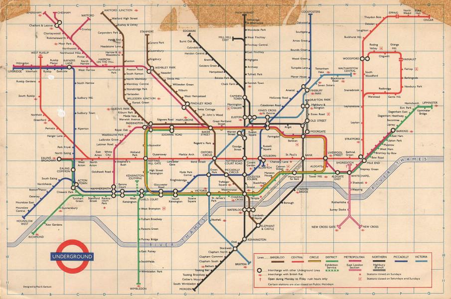 LONDON UNDERGROUND tube map plan. Victoria Line no Pimlico. GARBUTT #1 Jan 1972