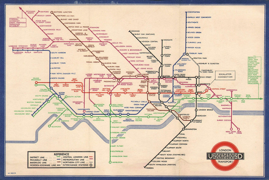 LONDON UNDERGROUND tube map diagram of lines. Middle Circle. HARRY BECK #2 1936