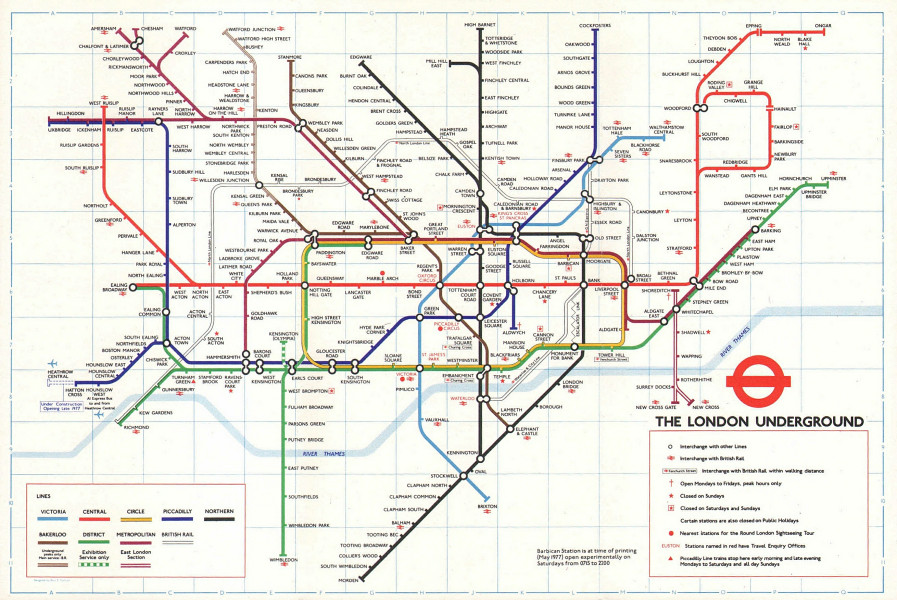 LONDON UNDERGROUND tube map. Under construction to Heathrow. GARBUTT #1 May 1977