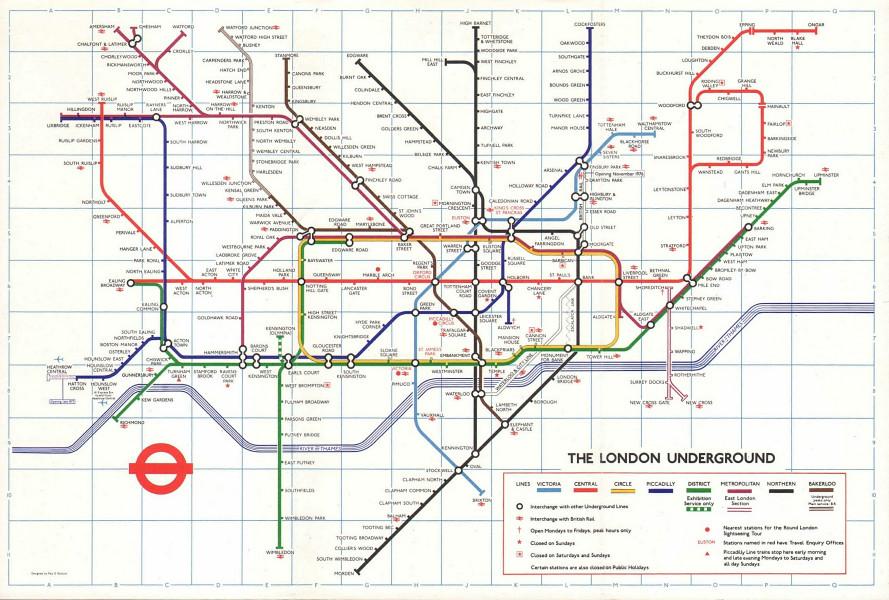 LONDON UNDERGROUND tube map. Heathrow Central under construction GARBUTT #1 1976