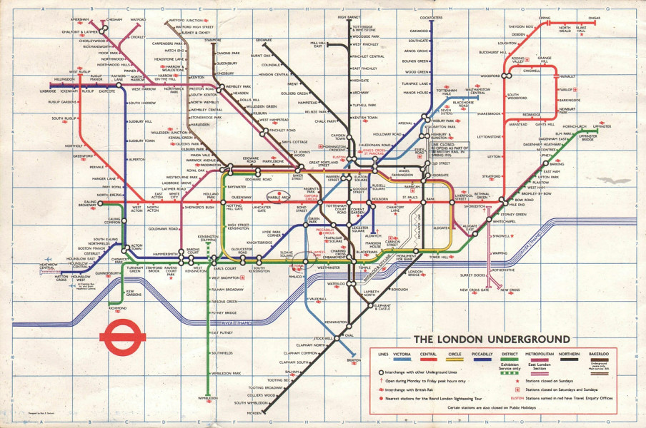 LONDON UNDERGROUND tube map. Under construction to Heathrow. GARBUTT #2 1975