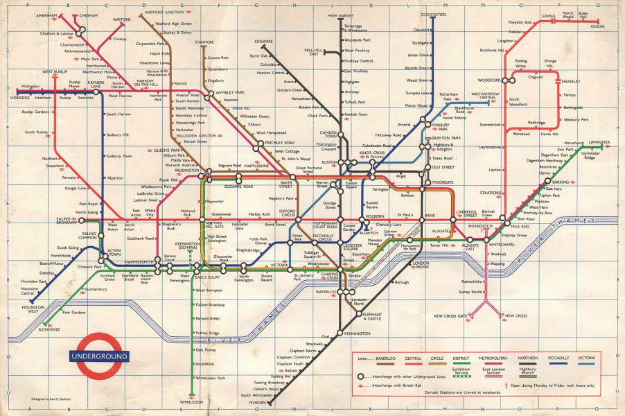 LONDON UNDERGROUND tube map plan. Victoria Line opened to Victoria. GARBUTT 1971