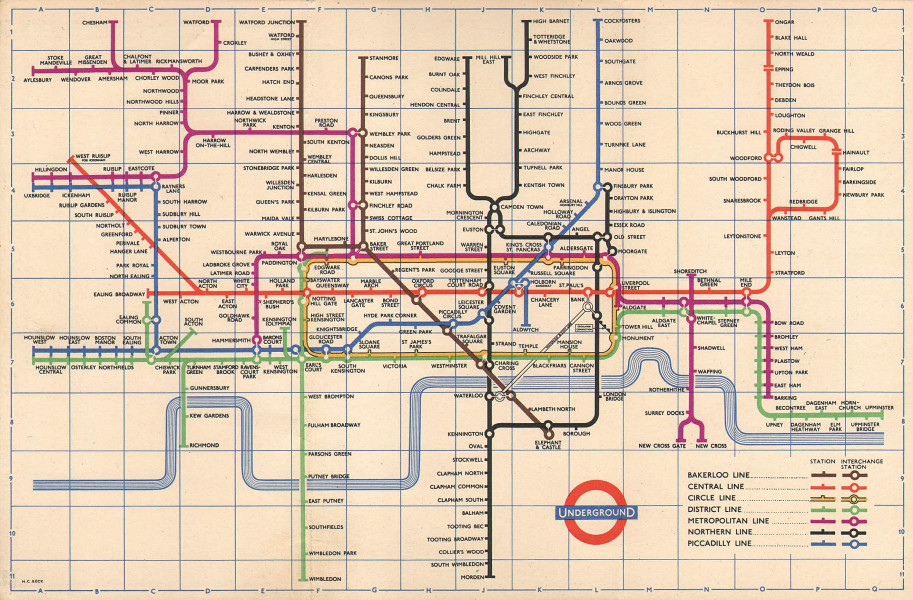 LONDON UNDERGROUND tube map plan. South Acton. Aylesbury. HARRY BECK. June 1958