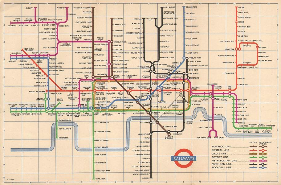 LONDON UNDERGROUND tube map plan. South Acton. Aylesbury. Ongar. HARRY BECK 1956