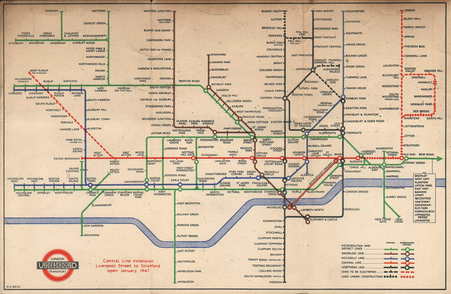 LONDON UNDERGROUND tube map diagram. Ongar Central Line extension. BECK #1 1946