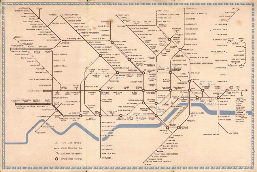 LONDON UNDERGROUND tube map plan diagram. Northern Heights SCHLEGER/ZERO #1 1940