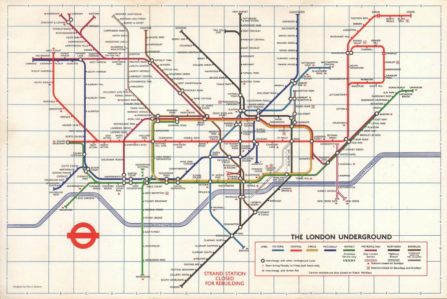 LONDON UNDERGROUND tube map plan. Victoria Line. Strand closed. GARBUTT #1 1974