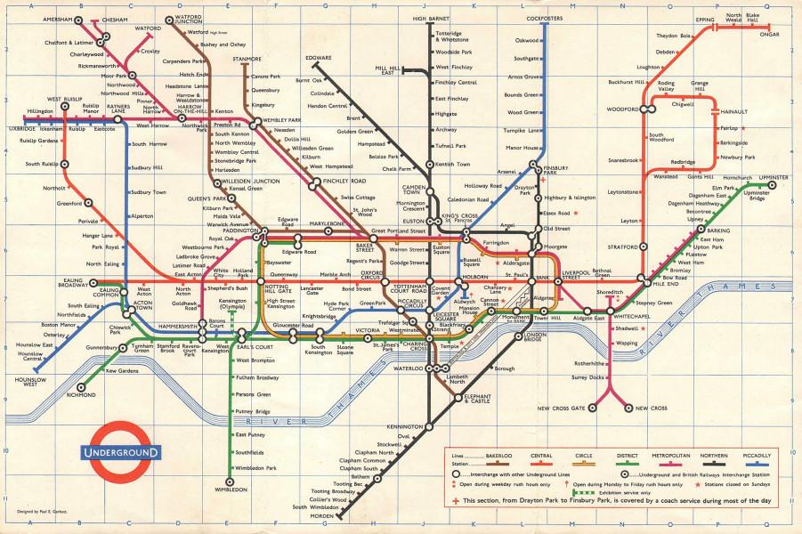 LONDON UNDERGROUND tube map plan. Northern line Highbury branch. GARBUTT 1967