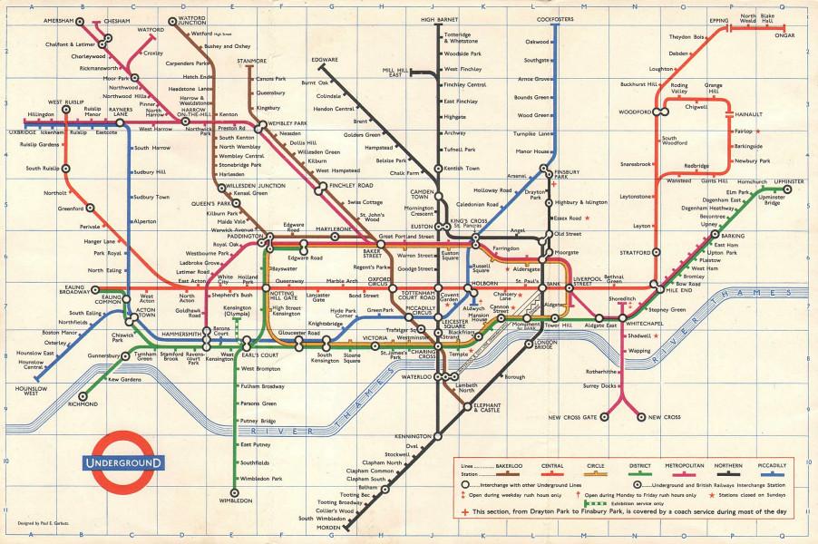 LONDON UNDERGROUND tube map plan. Northern line - Highbury branch. GARBUTT 1967