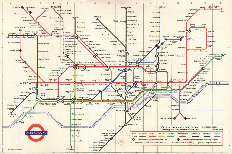 LONDON UNDERGROUND tube map plan. Victoria Line incomplete. GARBUTT #3 1968
