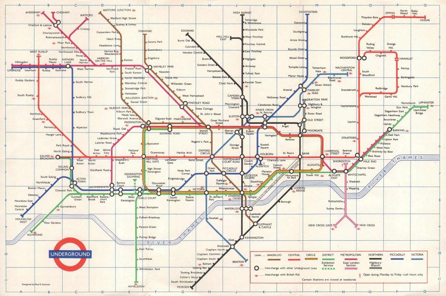 LONDON UNDERGROUND tube map plan. Victoria Line complete ex Pimlico GARBUTT 1971