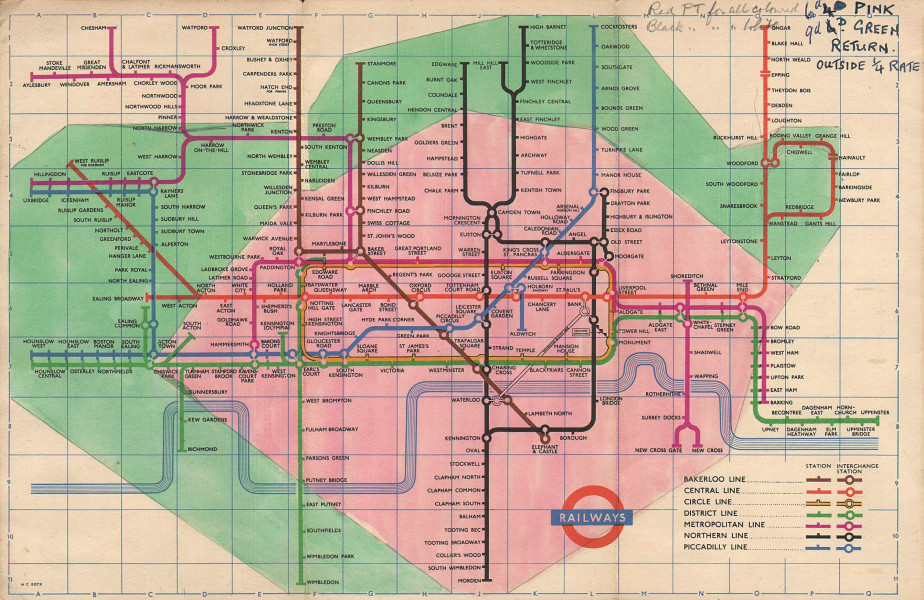 LONDON UNDERGROUND tube map plan manually overpainted fare zones HARRY BECK 1955