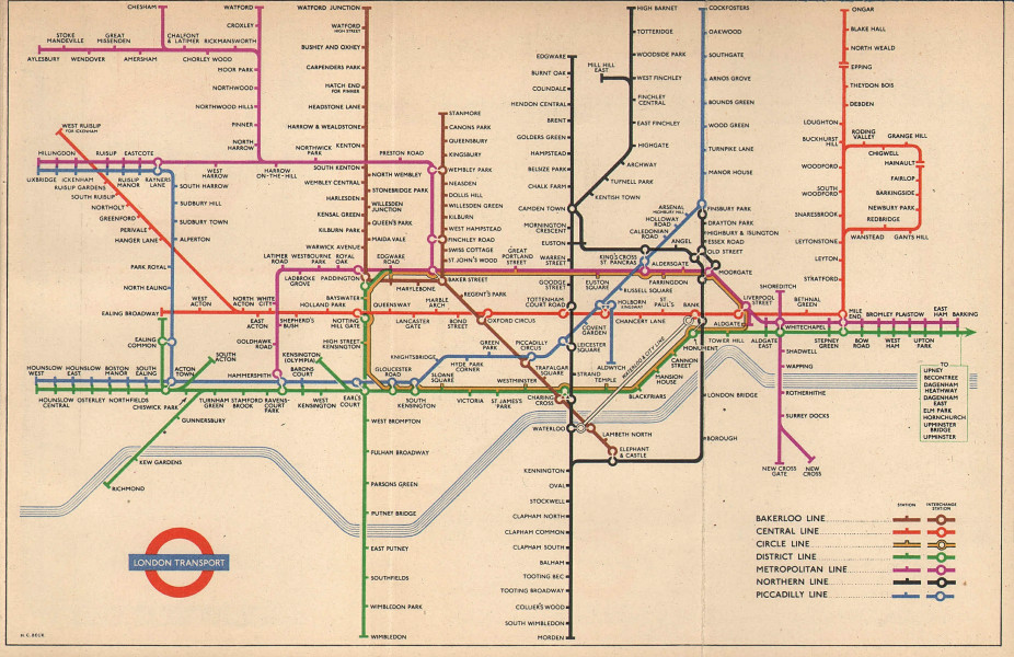 LONDON UNDERGROUND tube map diagram of lines South Acton HARRY BECK January 1953