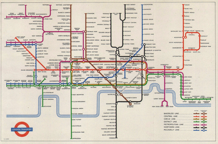 LONDON UNDERGROUND tube map plan. Paper edition. No gridlines. HARRY BECK 1956