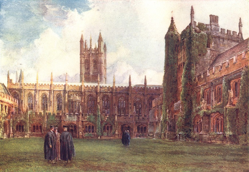 Associate Product OXFORD. The Cloisters, Magdalen College 1903 old antique vintage print picture