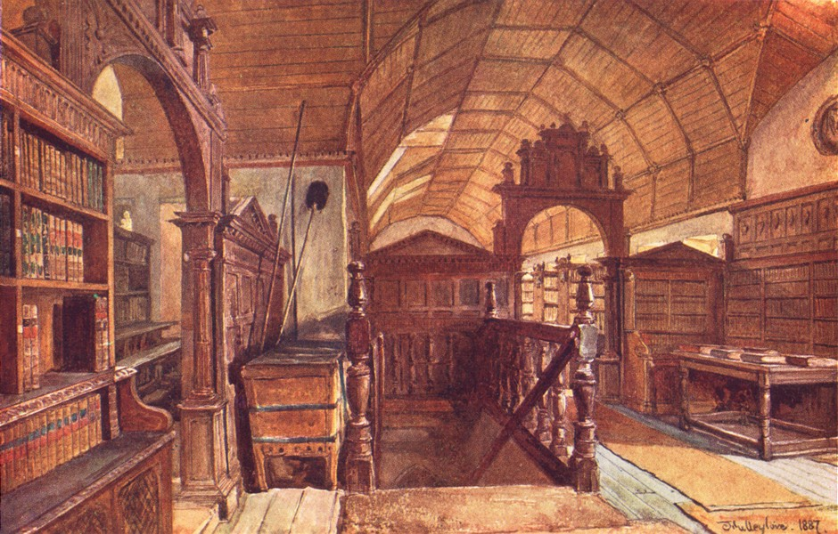 Associate Product OXFORD. Interior of the Library of Merton College 1903 old antique print