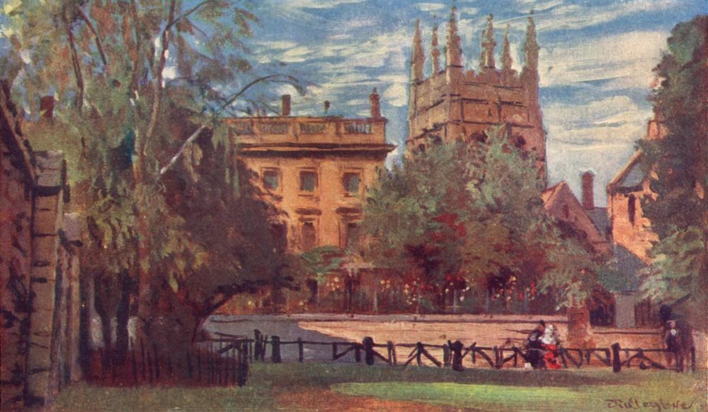 Associate Product OXFORD. Corpus Christi College Merton Tower, Christ Church Meadows 1903 print