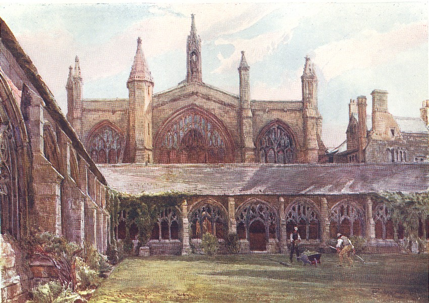 Associate Product OXFORD. The Cloisters, New College 1903 old antique vintage print picture