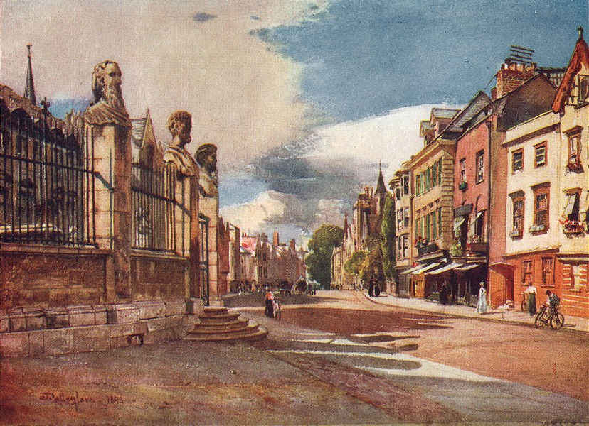 Associate Product OXFORD. Broad Street, looking West 1903 old antique vintage print picture