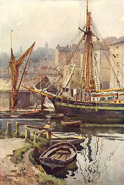 Associate Product The Quay, Exeter. Devon. By Ernest Haslehust 1920 old vintage print picture
