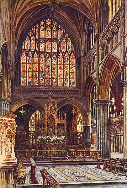The Sanctuary, Exeter Cathedral, Exeter. Devon. By Ernest Haslehust 1920 print