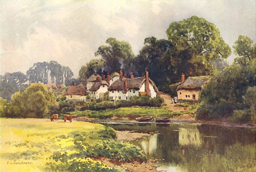 Associate Product Countess Weir, Exeter. Devon. By Ernest Haslehust 1920 old vintage print