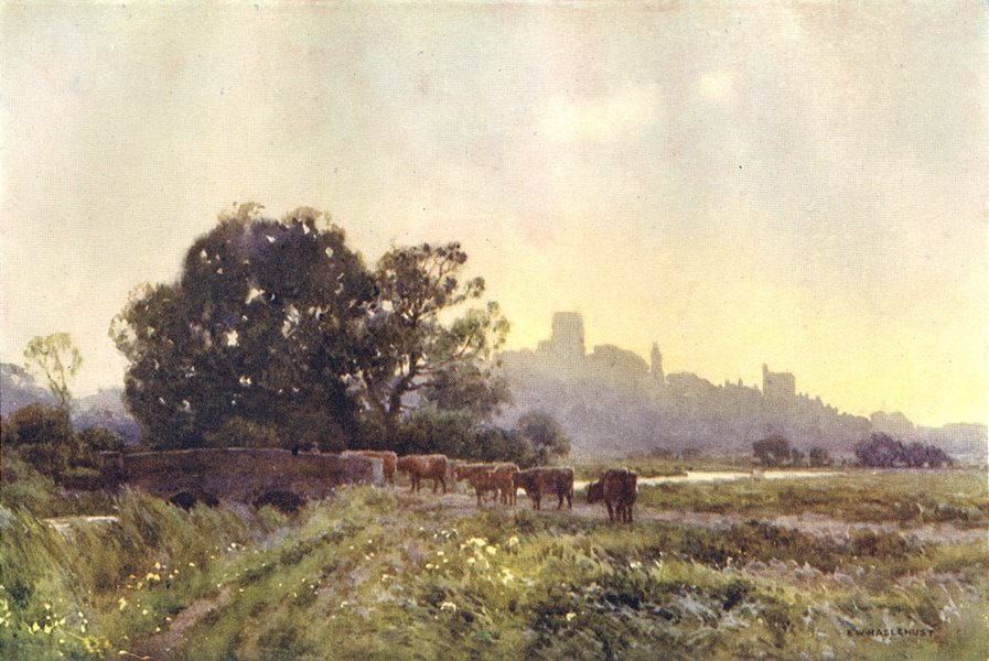 Associate Product Dorchester from the Meadows. Dorset. By Ernest Haslehust 1920 old print