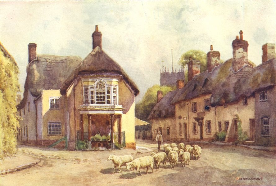 Puddletown. Dorset. By Ernest Haslehust 1920 old vintage print picture