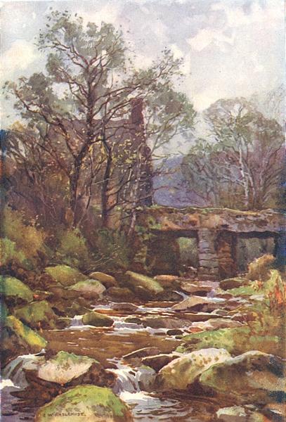 Associate Product Ockery bridge, near Princetown, Dartmoor. Devon. By Ernest Haslehust 1920