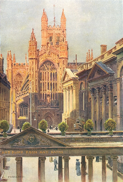 Associate Product The grand Pump-Room and Abbey, Bath. Somerset. By Ernest Haslehust 1920 print
